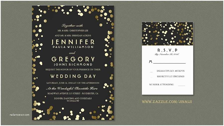 Black Wedding Invitations Read More – Vintage Black and Gold Confetti Wedding