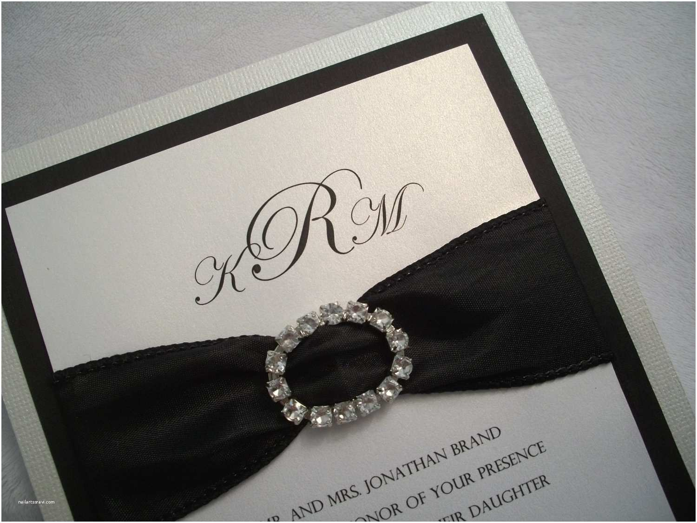 Black Wedding Invitations Rhinestone Wedding Invitation Suite Black and White Wedding