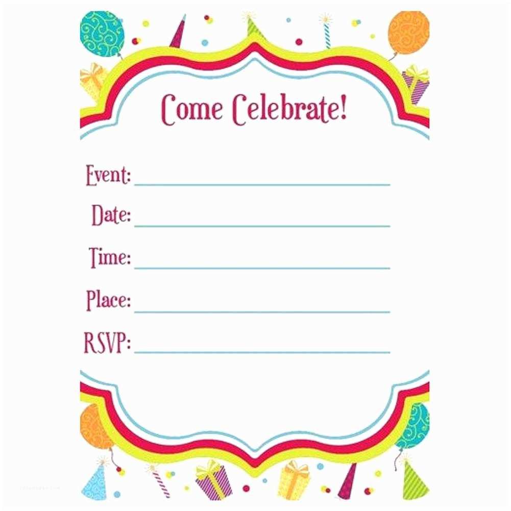 Blank Birthday Invitations Blank Fill In Invitations Happy Birthday Hats and Balloons