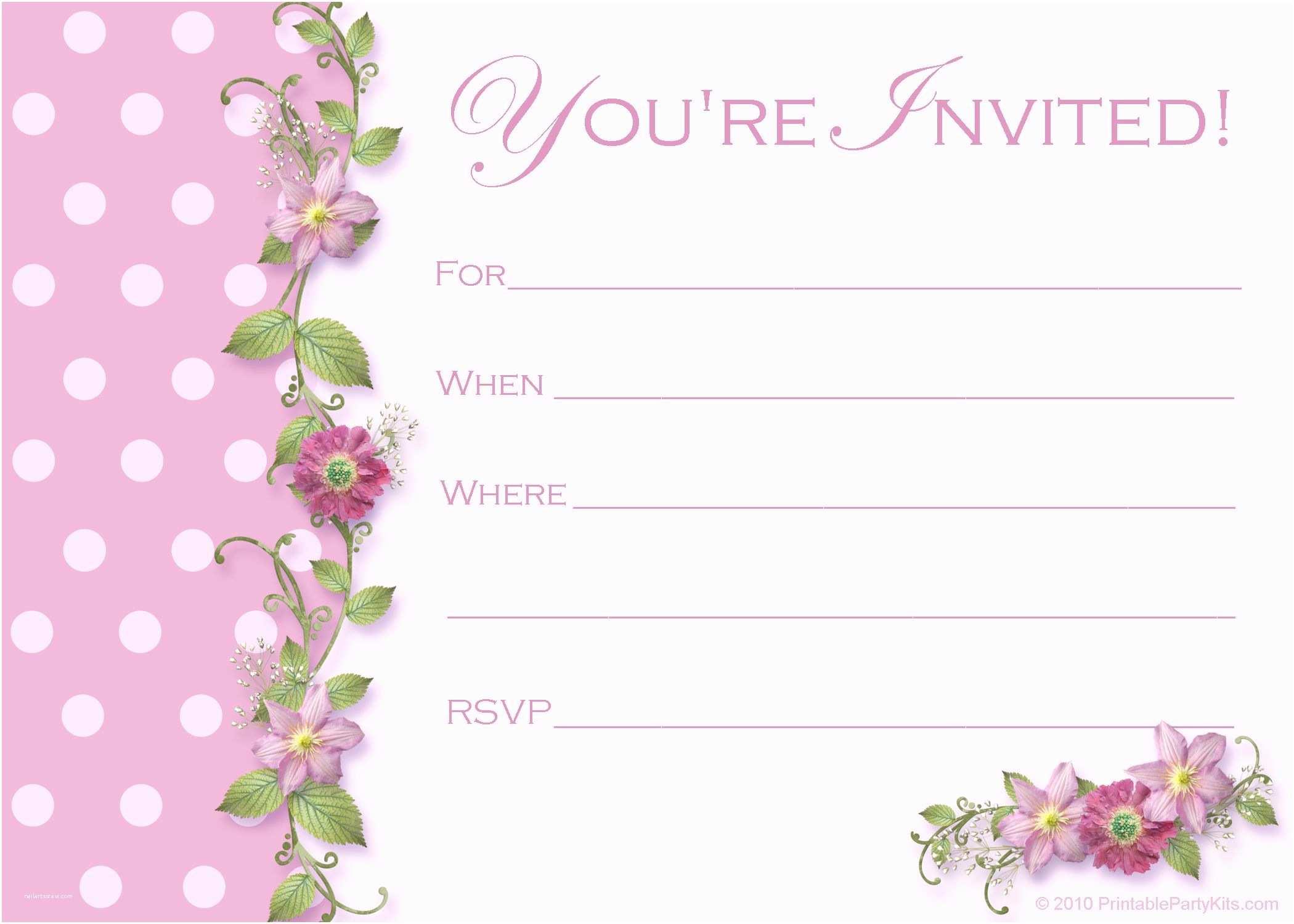 Blank Birthday Invitations Image For