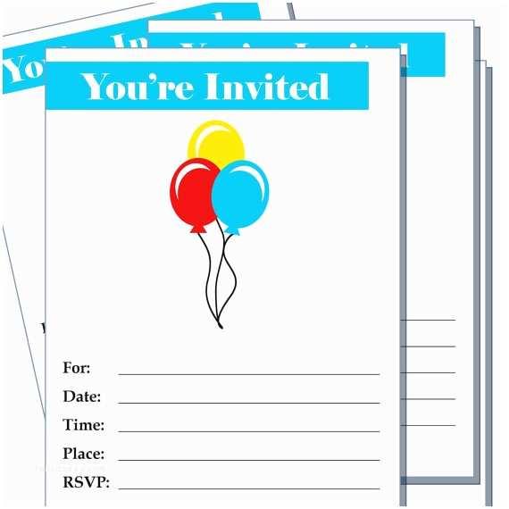 Blank Birthday Invitations Items Similar to Party Invitation Birthday Balloons