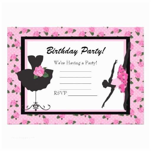 Blank Birthday Invitations Krw Girls Ballet Rose Blank Birthday Invitation