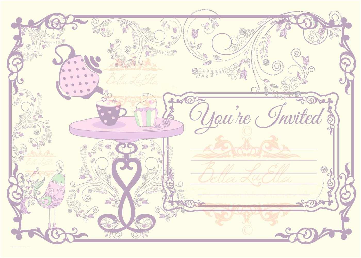 Blank Birthday Invitations Tea Party Invitation Blank Downloadable