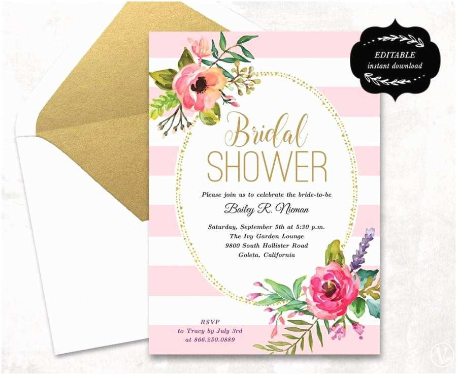 Blank Bridal Shower Invitations Blush Pink Floral