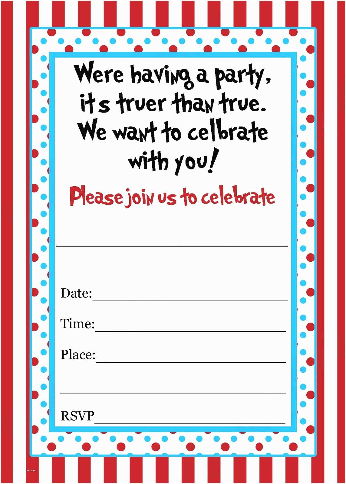 Blank Party Invitations Dr Seuss Templates Search Results