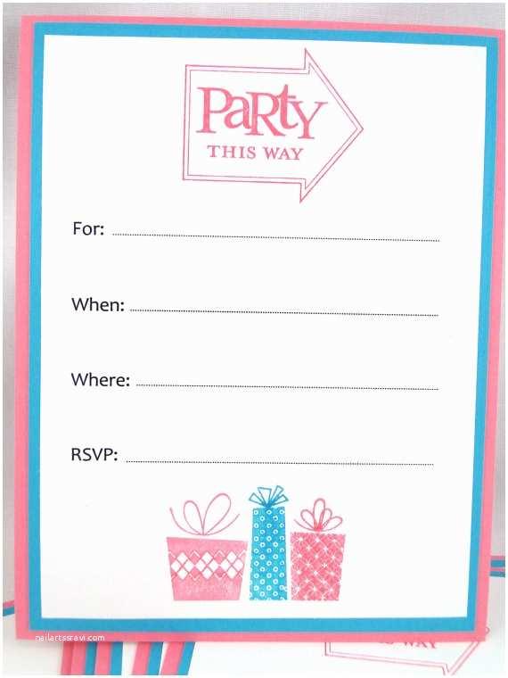 Blank Party Invitations Items Similar to Ready to Ship Birthday Party Invitations