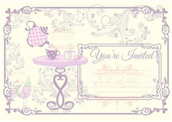 Blank Party Invitations Tea Party Invitation Blank Downloadable