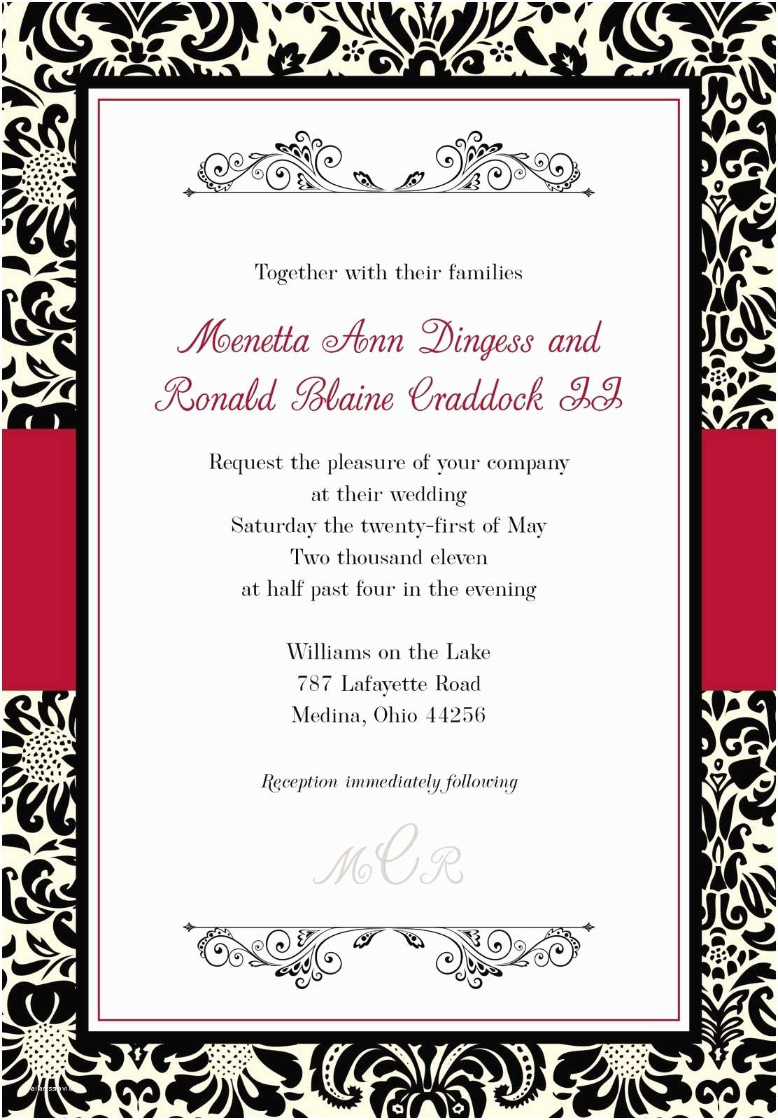 Wedding Invitation Sets Blank Black