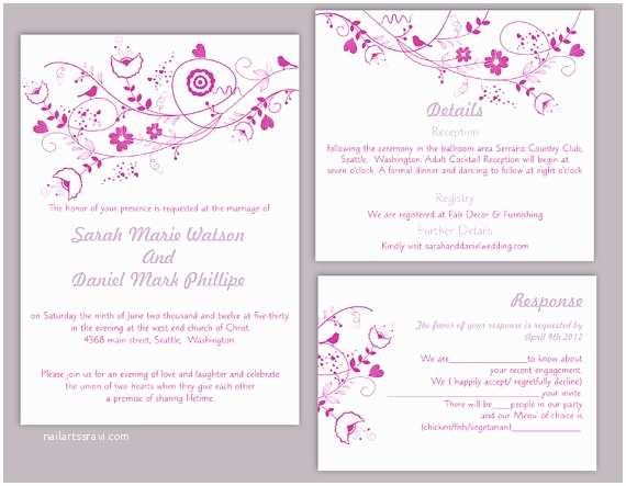Blank Wedding Invitation Sets Diy Wedding Invitation Template Set Editable Word File