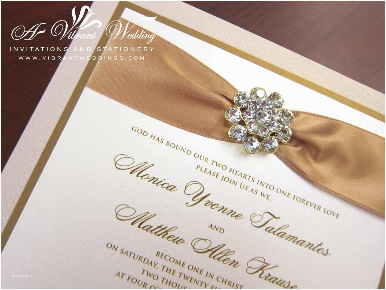Bling Wedding Invitations Champagne and Gold Box Wedding Invitation with Rhinestone