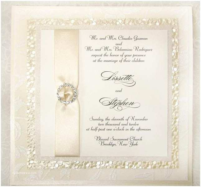 Bling Wedding Invitations Ivory Wedding Invitation with Texture and Bling