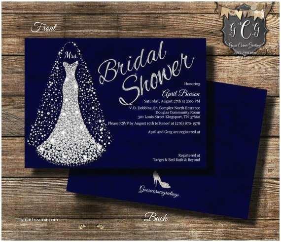Bling Wedding Invitations Wedding Dress Invitation Bridal Shower Invitation Wedding