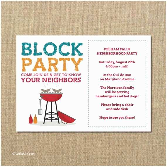 Block Party Invitation Neighborhood Block Party Cookout Invitation by Perchedowl