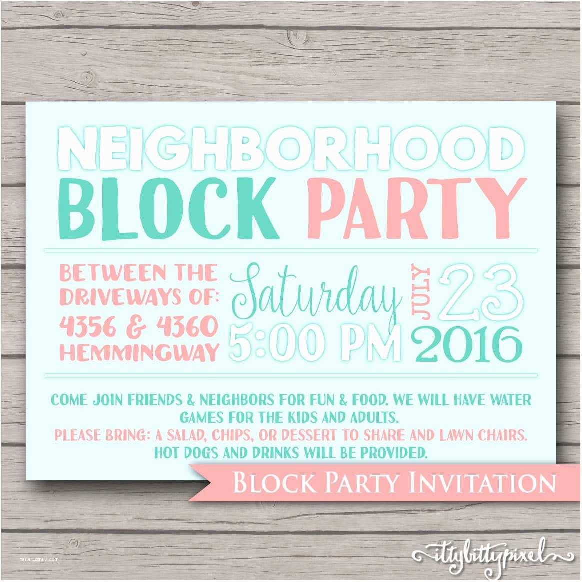 Block Party Invitation Neighborhood Block Party Invitation Announcement Invite Card
