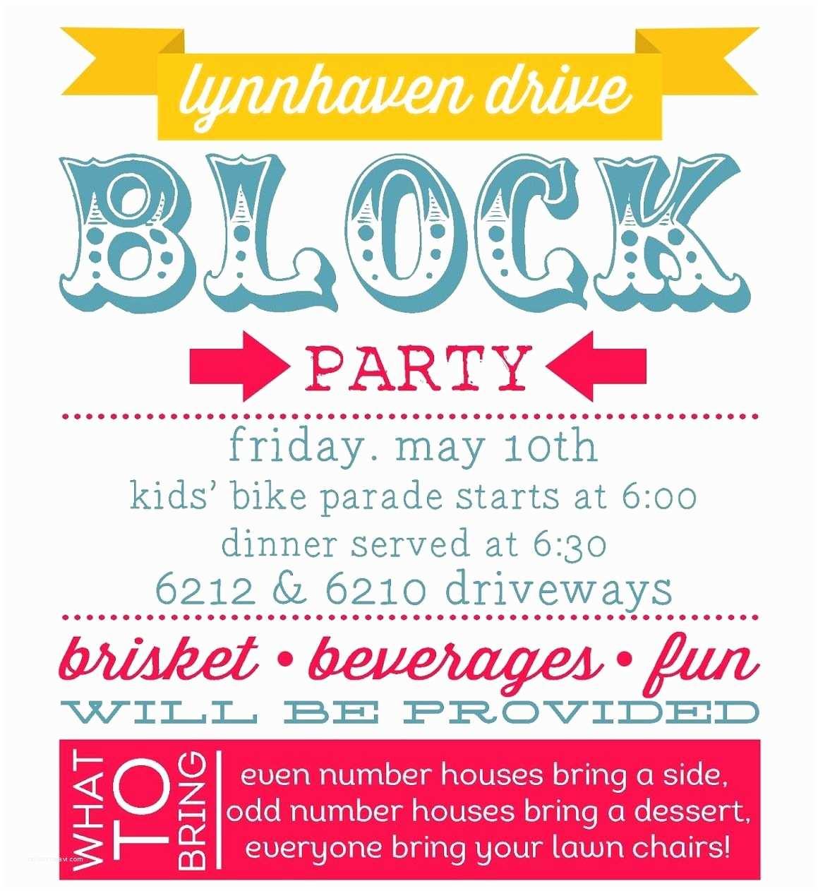 Block Party Invitation Planning Summer Block Party
