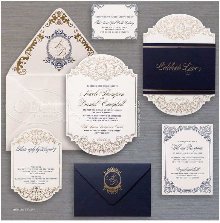 Blue and Gold Wedding Invitations 25 Best Ideas About Luxury Wedding Invitations On