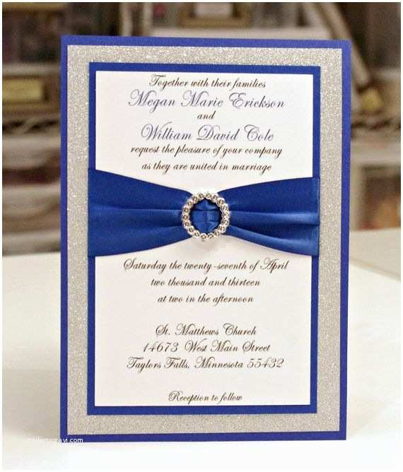 Blue and Gold Wedding Invitations Blue and Silver Wedding Invitation with Ribbon