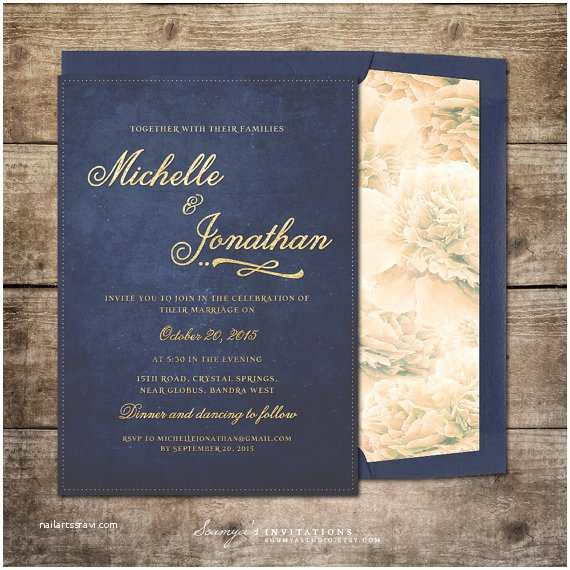 Blue and Gold Wedding Invitations Navy Blue and Gold Wedding Invitation by soumyasinvitations