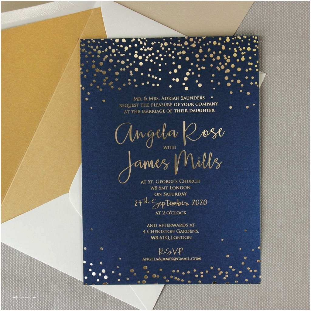 Blue and Gold Wedding Invitations Navy Blue Gold Foil Confetti Elegant Wedding Invitation