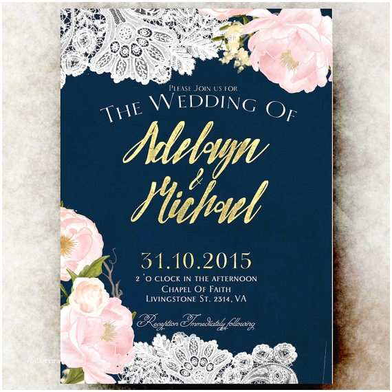 Blue and Gold Wedding Invitations Navy Blue Gold Wedding Invitation Country Wedding