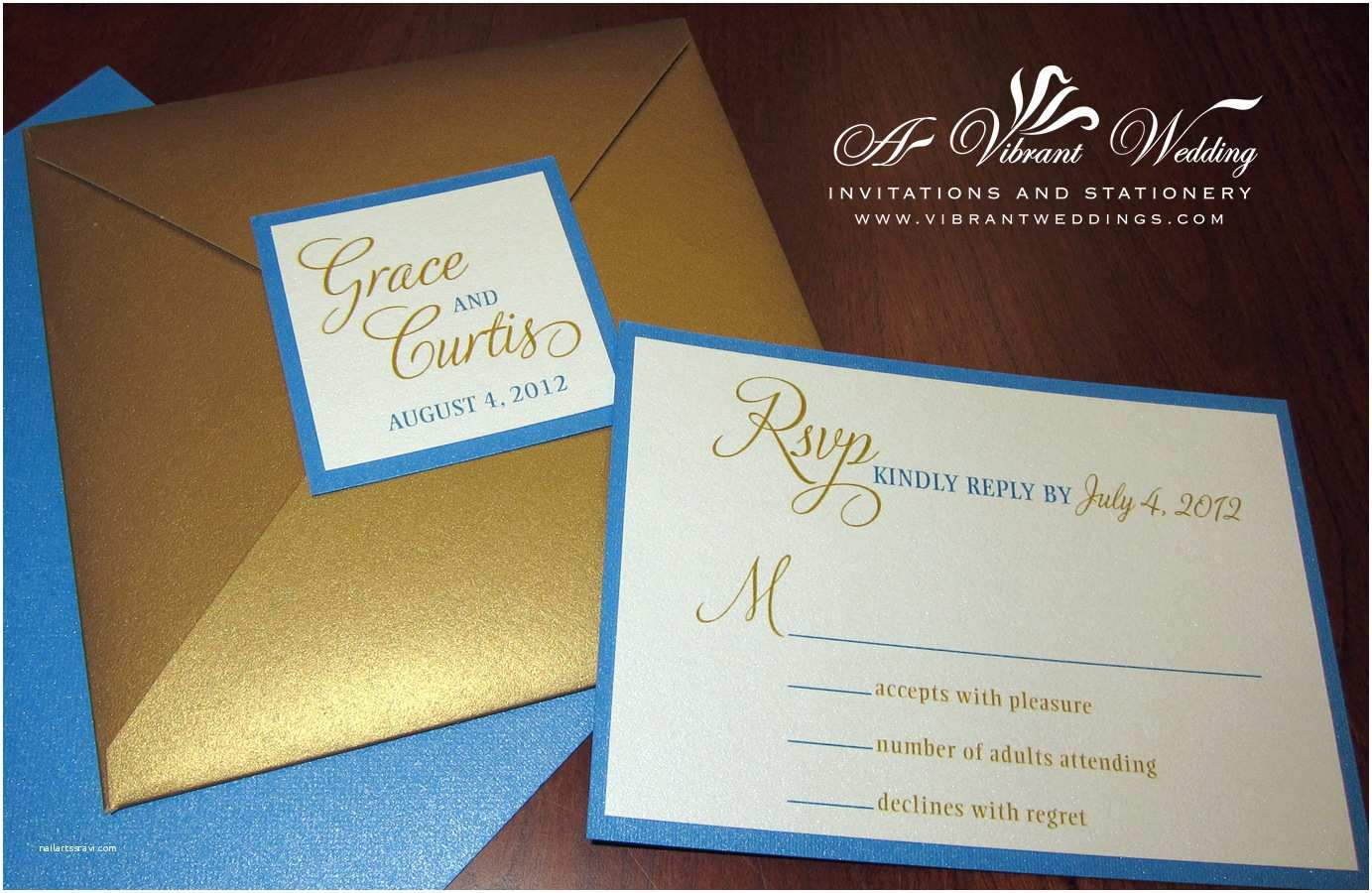 Blue and Gold Wedding Invitations Royal Blue Wedding Invitation – A Vibrant Wedding