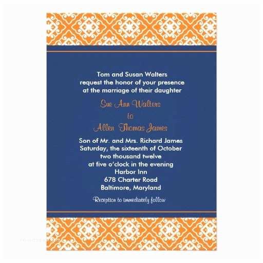 "Blue and orange Wedding Invitations asian Floral Wedding Invitation orange Navy Blue 5"" X 7"