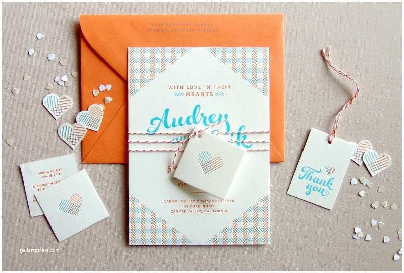 Blue and orange Wedding Invitations Audrey Erik S Gingham Letterpress Overprint Wedding