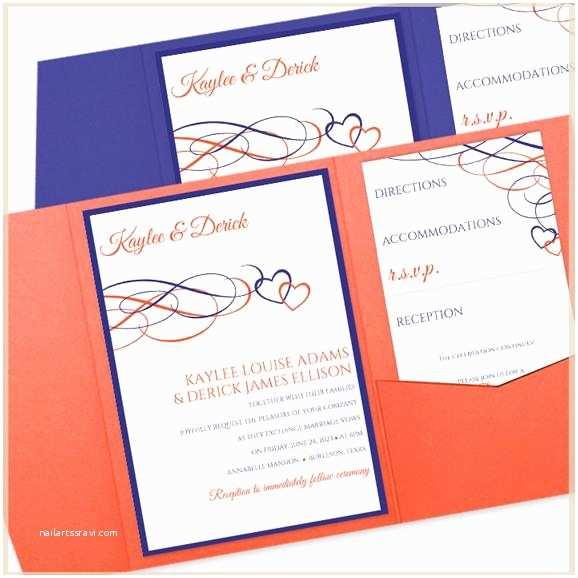 Blue and orange Wedding Invitations Beloved Hearts Pocket Wedding Invitation Template Cobalt