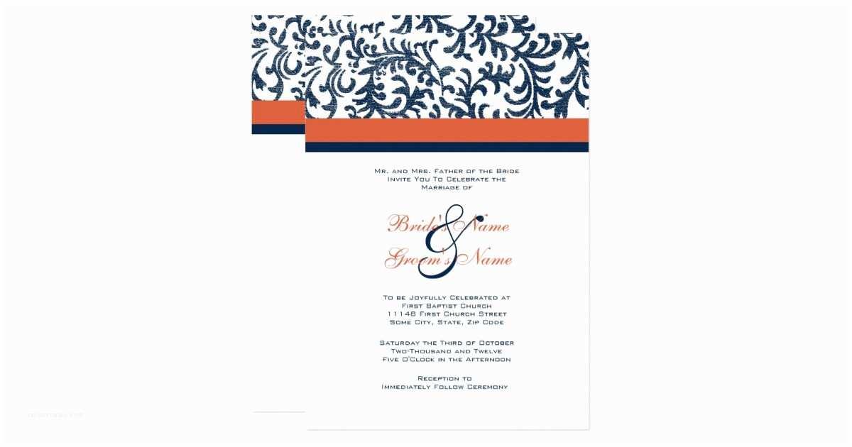 Blue and orange Wedding Invitations Blue and orange Wedding Invitation