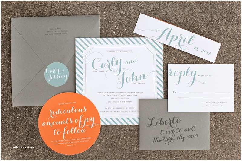 carly johns modern blue orange wedding invitations