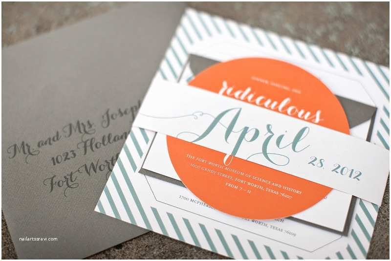 Blue and orange Wedding Invitations Carly John S Modern Blue orange Wedding Invitations