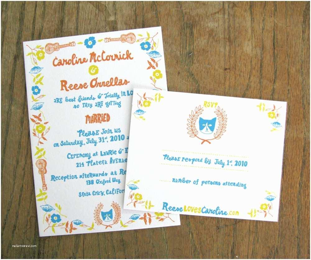 Blue and orange Wedding Invitations Caroline Reese S Screen Printed Wedding Invitations