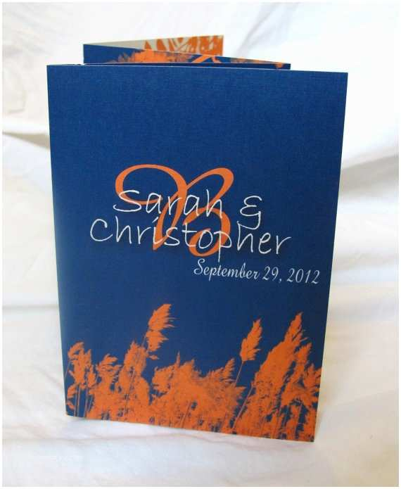 Blue and orange Wedding Invitations Cobalt Blue and orange Wedding