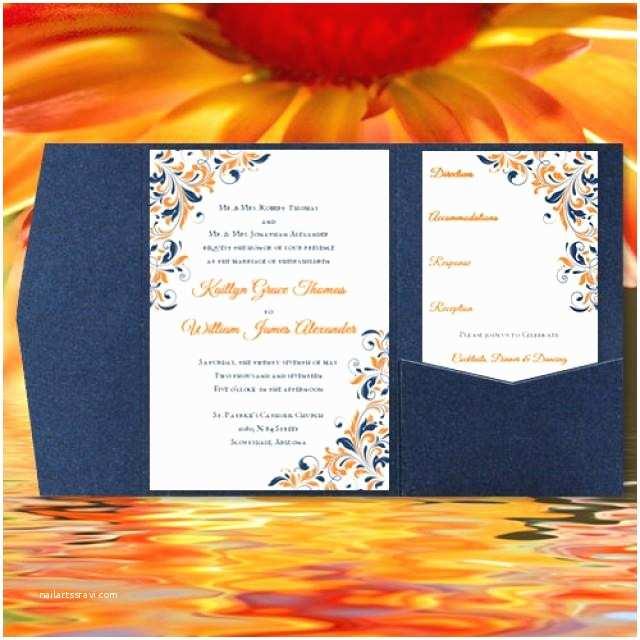 "Blue and orange Wedding Invitations Diy Pocketfold Wedding Invitations ""kaitlyn"" orange Navy"