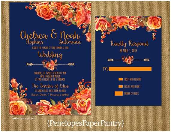 Blue and orange Wedding Invitations Elegant Rustic Navy Fall Wedding Invitationnavy Blueor
