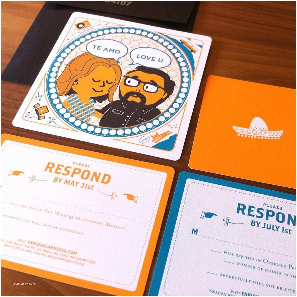 Blue and orange Wedding Invitations Enrique Annessa S Creative Mexico Destination Wedding