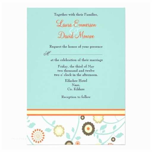 "Blue and orange Wedding Invitations Floral orange and Blue Wedding Invitation 5"" X 7"