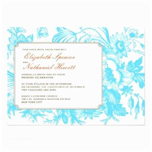 Blue and orange Wedding Invitations Luxe Floral Wedding Invitation In Blue & orange