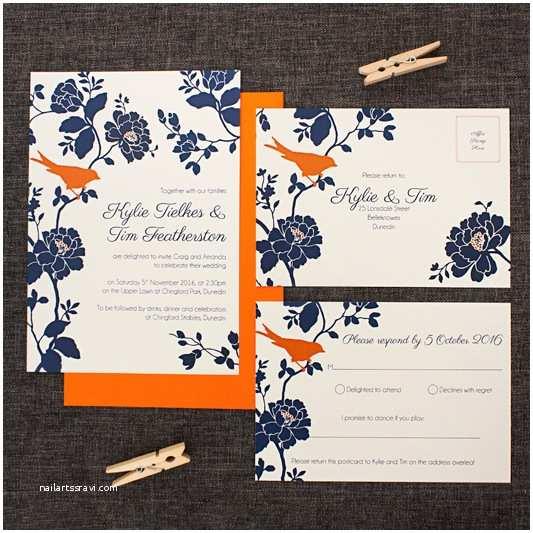 Blue and orange Wedding Invitations Navy Blue Grey and orange Rose and Bird Wedding