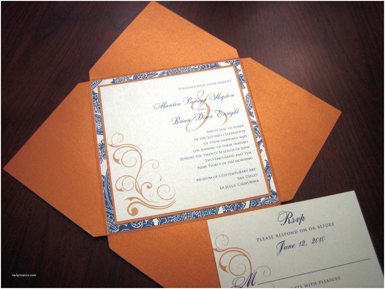 Blue and orange Wedding Invitations Navy Blue Wedding Invitation