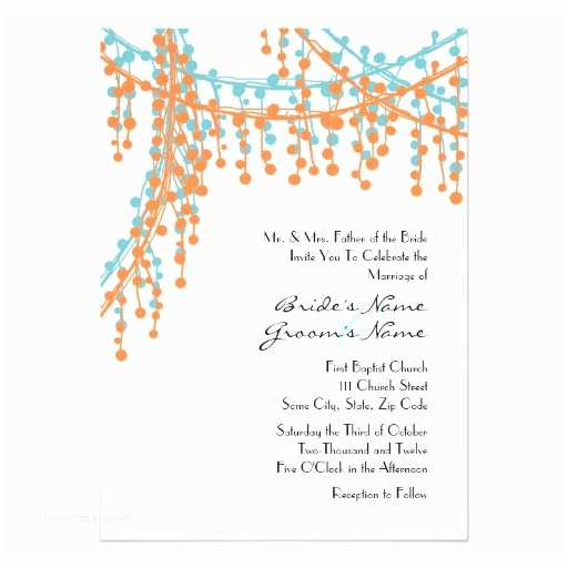 Blue and orange Wedding Invitations orange and Blue Beaded Wedding Invitation
