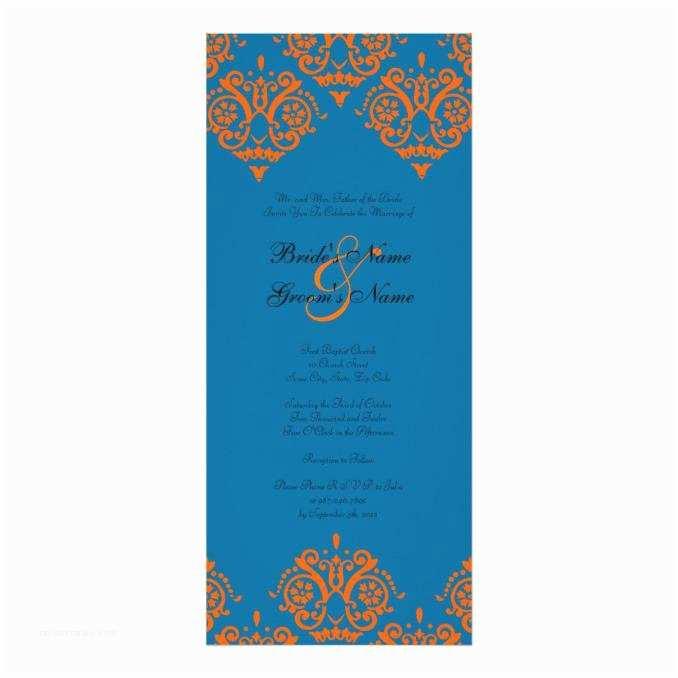 Blue and orange Wedding Invitations orange and Blue Damask Wedding Invitation Wedding