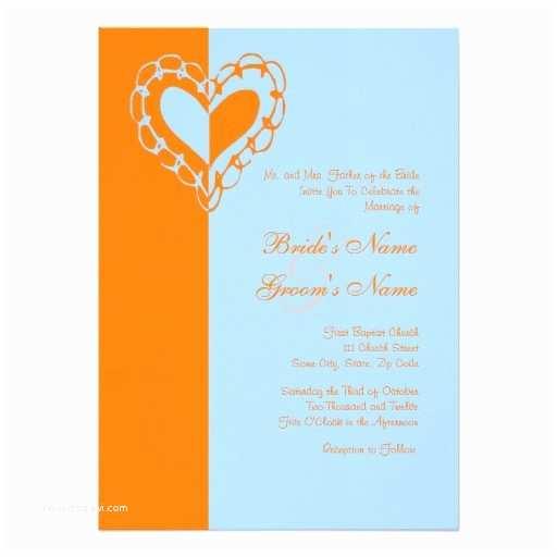 Blue and orange Wedding Invitations orange and Blue Heart Wedding Invitation