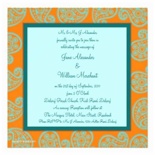 Blue and orange Wedding Invitations orange and Blue Paisley Wedding Invitation