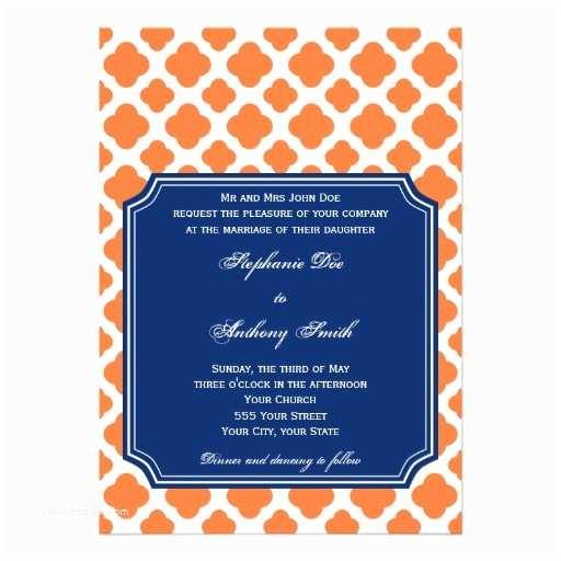 Blue and orange Wedding Invitations orange and Royal Blue Quatrefoil Wedding 5x7 Paper