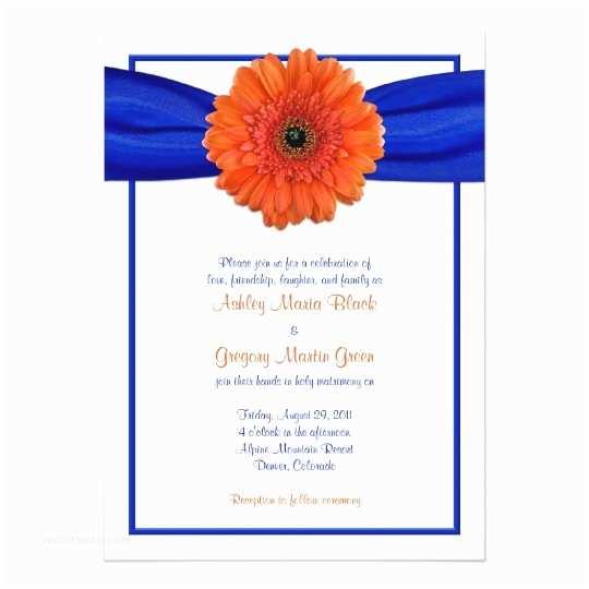 Blue and orange Wedding Invitations orange Gerbera Daisy Blue Wedding Invitation