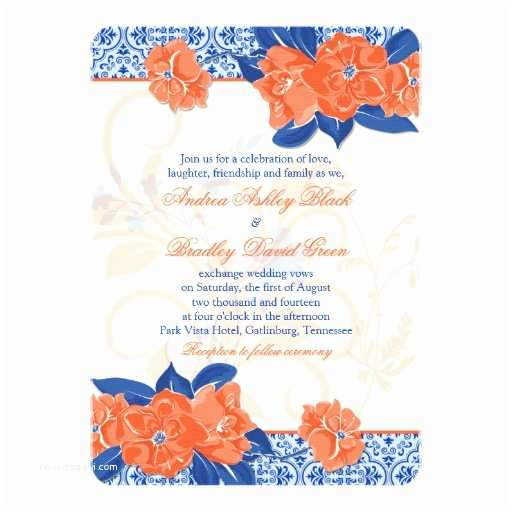 Blue and orange Wedding Invitations orange Royal Blue Floral Wedding Invitation