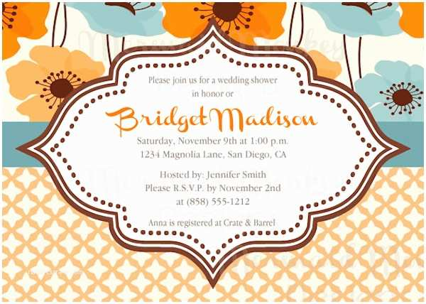 Blue and orange Wedding Invitations orange Wedding Invitations Bitsy Bride