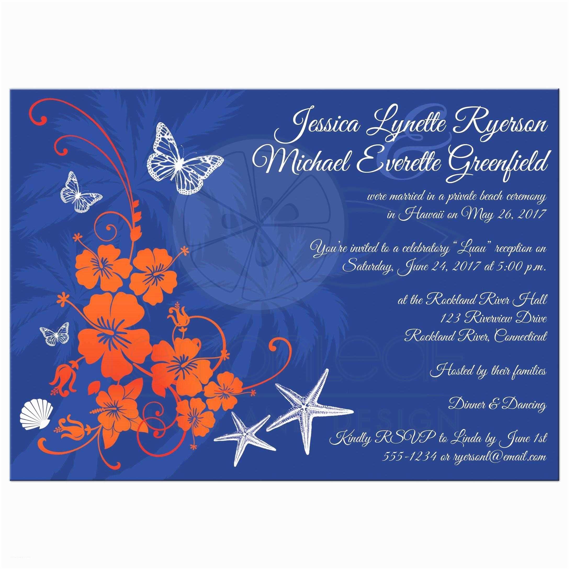 Blue and orange Wedding Invitations Post Wedding Reception Invitation