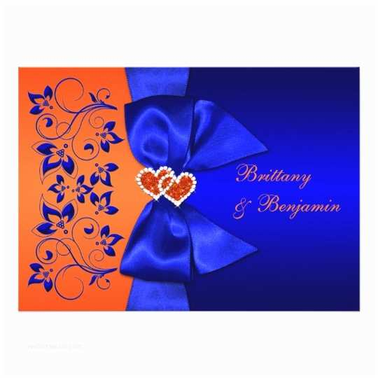 Blue and orange Wedding Invitations Printed Ribbon Blue orange Floral Wedding Invite